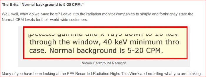 NORMAL BACKGROUND RADIATION LEVELS