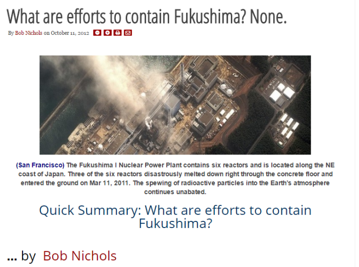 What are efforts to contain Fukushima