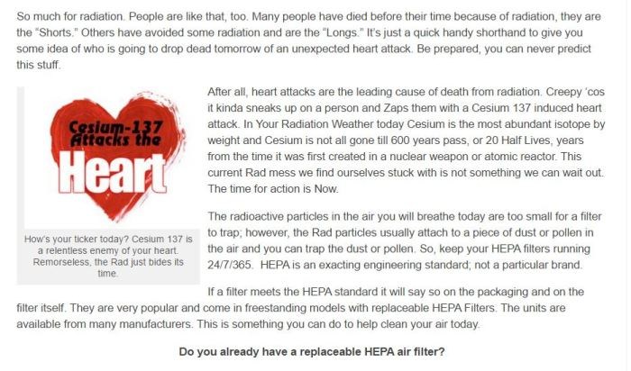 Your Radiation This Week No 6 - Cesium 137 Attacks the Heart